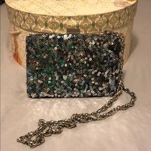 Silver Sequin Evening Handbag